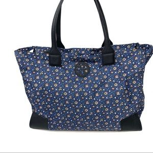 Tory Burch BlueWild Pansy Floral Zippered Tote Bag